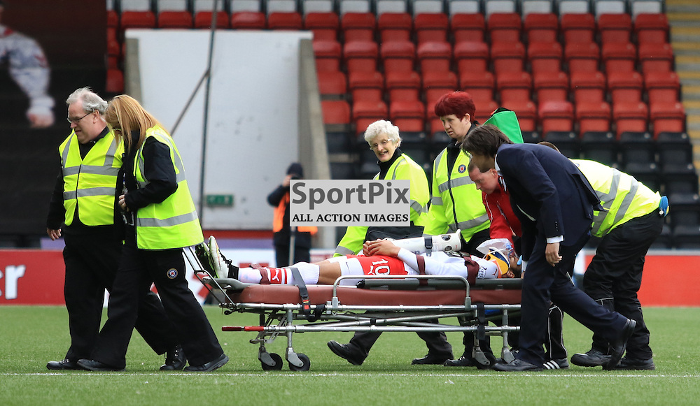 Concern grows for Airdrieonians Taylor Morgan as he gets stretchered off during the Airdrieonians FC V Ayr United FC Scottish League One 19th September 2015 ©Edward Linton | SportPix.org.uk