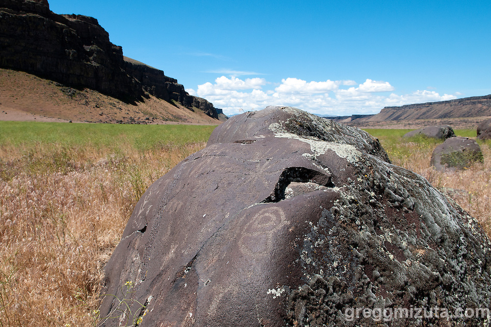 Wees Bar petroglyphs along the Snake River between Swan Falls dam and Celebration Park. Kuna, Idaho, May 24, 2015.