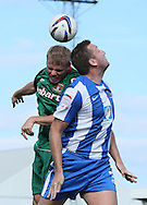 Picture by Paul  Gaythorpe/Focus Images Ltd +447771 871632.08/09/2012.Steve Howard of Hartlepool United and Frank Simek of Carlisle United during the npower League 1 match at Victoria Park, Hartlepool.