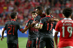 August 9, 2017 - Lisbon, Portugal - Braga's forward Ahmed Hassan (C ) celebrates with teammates after scoring during the Portuguese League football match SL Benfica vs SC Braga at Luz stadium in Lisbon on August 9, 2017 . Photo: Pedro Fiuza. (Credit Image: © Pedro Fiuza/NurPhoto via ZUMA Press)