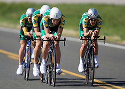 The Colorado State University team of Brad Cole, Caley Fretz, Chris Hall, Dan Lionberg, Patrick McGlynn, and Daniel Workman competes in the men's division 1 race.  The 2008 USA Cycling Collegiate National Championships Team Time Trial event was held near Wellington, CO on May 9, 2008.  Teams of 3 or 4 riders raced over a 20km out and back course that ran along a service road to Interstate 25.