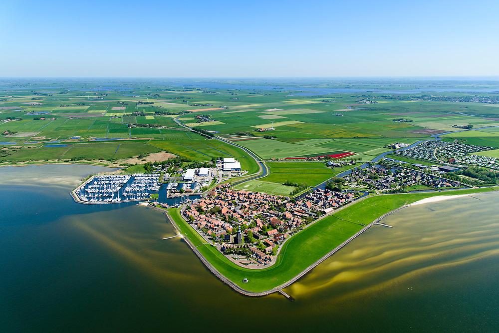 Nederland, Friesland, Súdwest-Fryslân, 07-05-2018; <br /> Hindeloopen, een van de Friese Elf steden.<br /> Hindeloopen, one of the Frisian Eleven cities.<br /> luchtfoto (toeslag op standard tarieven);<br /> aerial photo (additional fee required);<br /> copyright foto/photo Siebe Swart
