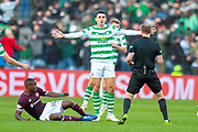 Tom Rogic (#18) of Celtic FC pleads to the referee during the Betfred League Cup semi-final match between Heart of Midlothian FC and Celtic FC at the BT Murrayfield Stadium, Edinburgh, Scotland on 28 October 2018.