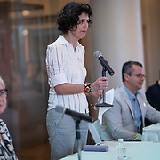 MAY 30, 2018--MIAMI, FLORIDA<br /> Dr. Ariana Hernandez-Reguant (Tulane University) introduces panelists, from left; Victoria Rogers, Roberto Rovira and Dr. Ann Markusen to their  lecture; Creative Placemaking: What&rsquo;s in It for Miami? as part of the By the People: Designing a Better America lectures at Miami Dade College's Freedom Tower .<br /> (PHOTO BY ANGELVALENTIN/FREELANCE)