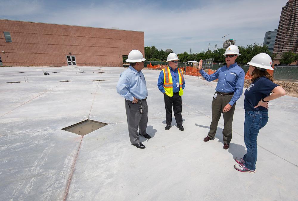 Houston ISD trustee Harvin Moore surveys the construction at Grady Middle School, April 20, 2015.