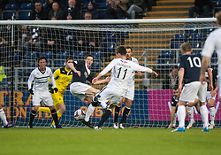 Raith Rovers Grant Anderson misses a chance.<br /> Half time : Falkirk 2 v 0 Raith Rovers, Scottish Championship game at The Falkirk Stadium.