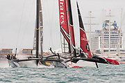 The Great Sound, Bermuda. 10th June 2017. Emirates Team New Zealand and Artemis Racing (SWE) in pre start for the third race of the Louis Vuitton America's Cup Challenger playoff finals. ETNZ win the race to take the score to 2 - 1.