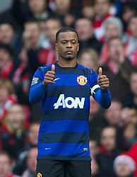 28.01.2012, Anfield, Liverpool, ENG, FA CUP, Liverpool FC vs Manchester United, im Bild Manchester United's Patrice Evra during the football match of the english FA CUP, between Liverpool FC and Manchester United, at the Anfield Stadium, Liverpool, England on 2012/01/28. EXPA Pictures © 2012, PhotoCredit: EXPA/ Propagandaphoto/ David Rawcliff..***** ATTENTION - OUT OF ENG, GBR, UK *****