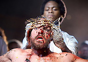 Jesus Christ Superstar <br /> by Tim Rice & Andrew Lloyd Webber <br /> at The Regent's Park Open Air Theatre, London, Great Britain <br /> press photocall<br /> 19th July 2016 <br /> <br /> Declan Bennett as Jesus <br /> <br /> Tyrone Huntley as Judas <br /> <br /> <br /> <br /> <br /> Photograph by Elliott Franks <br /> Image licensed to Elliott Franks Photography Services