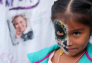 A girl with skull face paint in the Day of the Dead celebrations in Los Angeles on Monday, Nov. 1, 2016.(Photo by Ringo Chiu/PHOTOFORMULA.com)<br /> <br /> Usage Notes: This content is intended for editorial use only. For other uses, additional clearances may be required.
