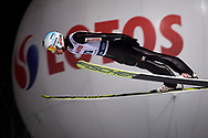 Poland, Wisla Malinka - 2017 November 18: Kamil Stoch from Poland soars in the air during FIS Ski Jumping World Cup Wisla 2017/2018 - Day 1 at jumping hill of Adam Malysz on November 18, 2017 in Wisla Malinka, Poland.<br /> <br /> Mandatory credit:<br /> Photo by © Adam Nurkiewicz<br /> <br /> Adam Nurkiewicz declares that he has no rights to the image of people at the photographs of his authorship.<br /> <br /> Picture also available in RAW (NEF) or TIFF format on special request.<br /> <br /> Any editorial, commercial or promotional use requires written permission from the author of image.