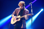 Ed Sheeran performing at the iHeartRadio Music Festival in Las Vegas, Nevada on Sepembter 20, 2014.