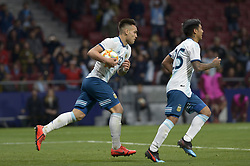 March 22, 2019 - Madrid, Madrid, Spain - Lautaro Martínez of Argentina celebrates after the goal during the Friendly football match between Argentina and Venezuela at Wanda Metropolitano Stadium in 22 March 2019, Madrid, Spain, preparatory for the Copa América Brazil 2019 to be played from June 14 to July 7. (Credit Image: © Patricio Realpe/NurPhoto via ZUMA Press)