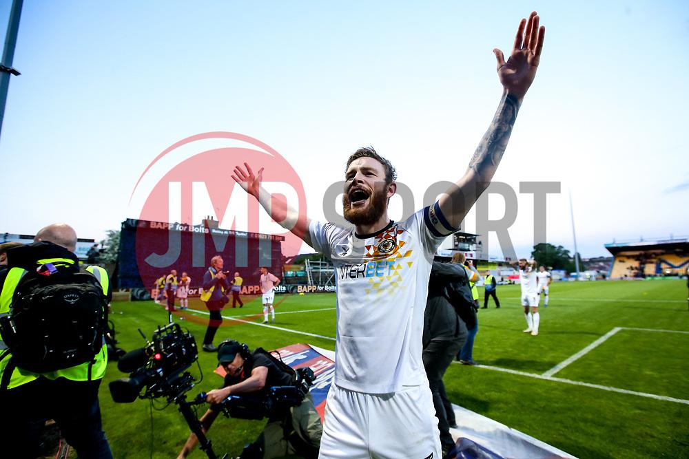 Mark O'Brien of Newport County celebrates winning through to the Sky Bet League Two Playoff Final - Mandatory by-line: Robbie Stephenson/JMP - 12/05/2019 - FOOTBALL - One Call Stadium - Mansfield, England - Mansfield Town v Newport County - Sky Bet League Two Play-Off Semi-Final 2nd Leg