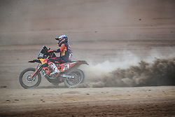 Luciano Benavides (ARG) of Red Bull KTM Factory Team races during stage 4 of Rally Dakar 2019 from Arequipa to Tacna, Peru on January 10, 2019. // Flavien Duhamel/Red Bull Content Pool // AP-1Y3A6945W2112 // Usage for editorial use only // Please go to www.redbullcontentpool.com for further information. //