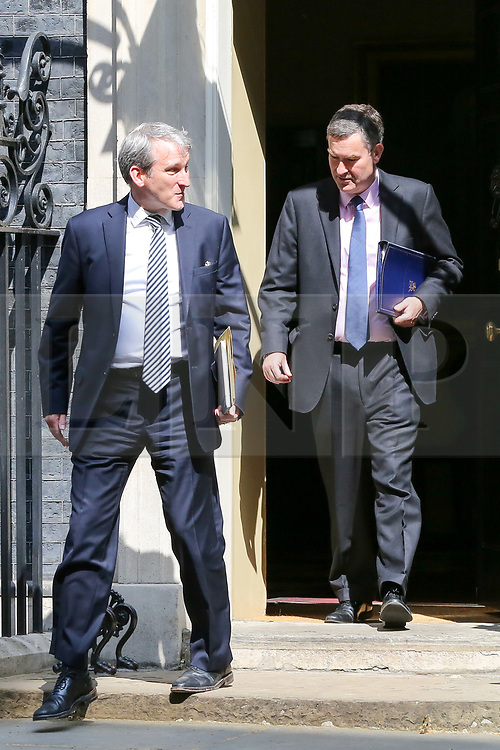 © Licensed to London News Pictures. 30/04/2019. London, UK. Damian Hinds - Secretary of State for Education (L) and David Gauke - Justice Secretary (R) departs from No 10 Downing Street after attending the weekly Cabinet meeting. Photo credit: Dinendra Haria/LNP