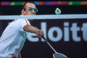 SO Poland athlete Radoslaw Soltysiak in action while badminton competition during fifth day of the Special Olympics World Games Los Angeles 2015 on July 29, 2015 at Los Angeles Convention Centre in Los Angeles, USA.<br /> <br /> USA, Los Angeles, July 29, 2015<br /> <br /> Picture also available in RAW (NEF) or TIFF format on special request.<br /> <br /> For editorial use only. Any commercial or promotional use requires permission.<br /> <br /> Adam Nurkiewicz declares that he has no rights to the image of people at the photographs of his authorship.<br /> <br /> Mandatory credit:<br /> Photo by &copy; Adam Nurkiewicz / Mediasport