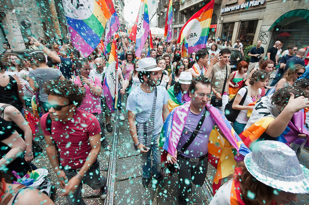 MILAN, ITALY - JUNE 12:  Participants to the Gay Pride Milano march in the city centre on June 12, 2010 in Milan, Italy.  Pride Milano is one of the oldest gay marches in Italy and today's march is against homophobic violence  (Photo by Marco Secchi/Getty Images)