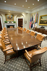 Very high resolution view of the newly renovated interior of the Roosevelt Room in the White House in Washington, DC on Tuesday, August 22, 2017. When seated at the table, the President's chair is the larger one in the center of the table in front of the American Flag. The doorway that leads to the hallway across from the Oval Office is the one on the right in the background near the center of the photo. The carpet is new. 22 Aug 2017 Pictured: Very high resolution view of the newly renovated interior of the Roosevelt Room in the White House in Washington, DC on Tuesday, August 22, 2017. When seated at the table, the President's chair is the larger one in the center of the table. The doorway that leads to the hallway across from the Oval Office is in the background near the center of the photo. The carpet is new. Credit: Ron Sachs / CNP. Photo credit: Ron Sachs - CNP / MEGA TheMegaAgency.com +1 888 505 6342