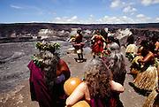 Hawaiian ceremony, Kilauea Iki Crater, Big Island of Hawaii