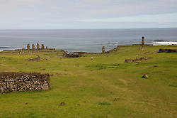 Chile, Easter Island: Wide angle view of historic village called Ahu Tahai, near Hanga Roa..Photo #: ch226-33085..Photo copyright Lee Foster www.fostertravel.com lee@fostertravel.com 510-549-2202