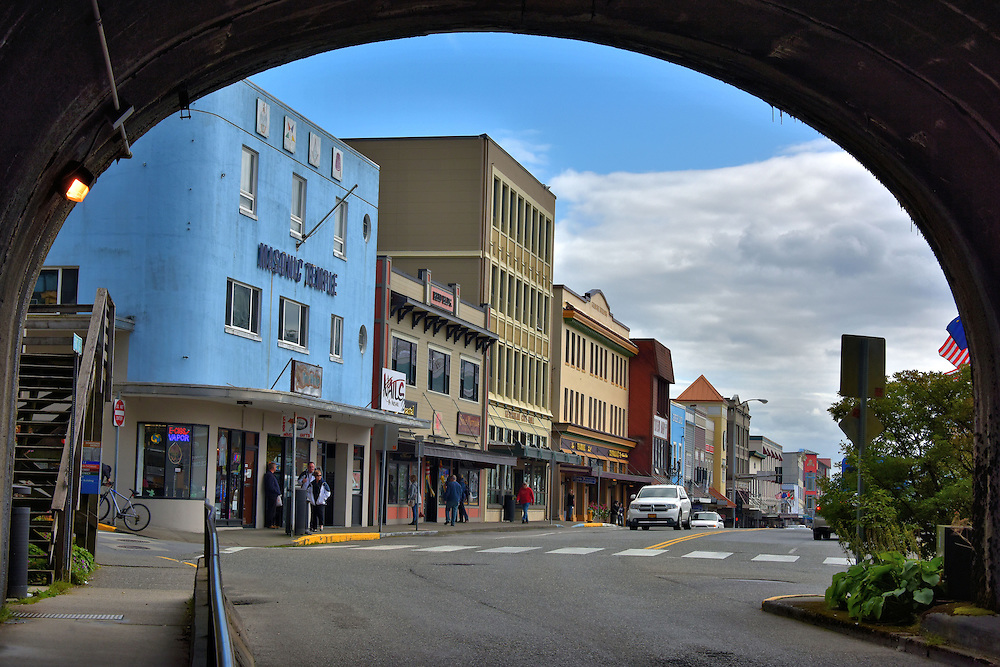 Tunnel into Downtown Ketchikan, Alaska<br /> This tunnel leads from Water Street in Newtown into Front Street which is the harbor facing road of downtown Ketchikan, Alaska.  On the left is a Masonic Temple.  The Freemasonry Hall originated in France during the 18th century.