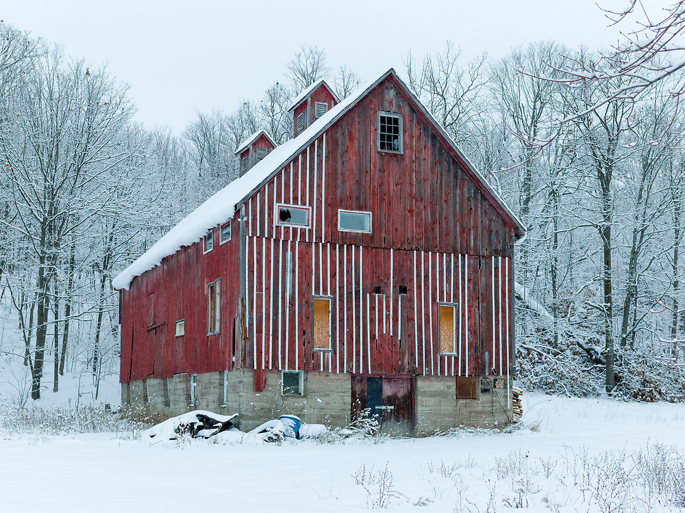 http://Duncan.co/red-barn-and-snow-covered-trees