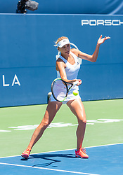August 5, 2018 - San Jose, CA, U.S. - SAN JOSE, CA - AUGUST 05: Nadiia Kichenok (UKR) places a forehand during the WTA Doubles Championship match at the Mubadala Silicon Valley Classic on the San Jose State University Stadium Court in San Jose, CA  on Sunday, August 5, 2018. (Photo by Douglas Stringer/Icon Sportswire) (Credit Image: © Douglas Stringer/Icon SMI via ZUMA Press)