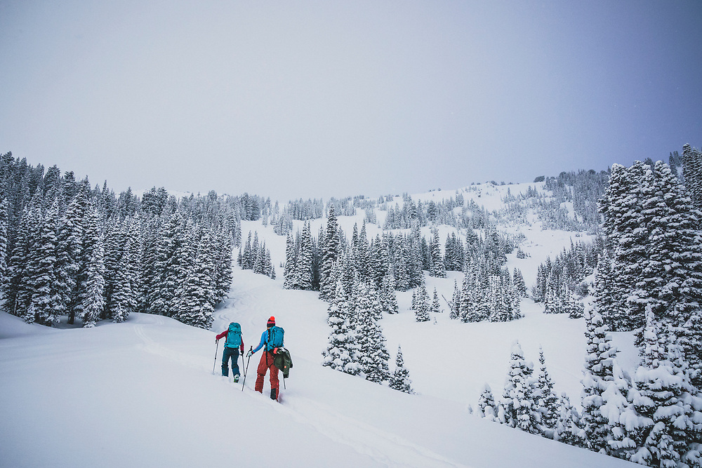 Jacki Arevalo and Kaylin Richardson head up into the backcountry of the Central Wasatch for a day of skiing, Utah.