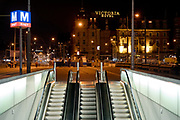 Metro entrance by Amsterdam Central Station, Netherlands.