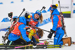 March 16, 2019 - –Stersund, Sweden - 190316 Linn Persson, Mona Brorsson and Anna Magnusson of Sweden celebrates the Hanna Öberg  after the Women's 4x6 km Relay during the IBU World Championships Biathlon on March 16, 2019 in Östersund..Photo: Petter Arvidson / BILDBYRÃ…N / kod PA / 92268 (Credit Image: © Petter Arvidson/Bildbyran via ZUMA Press)
