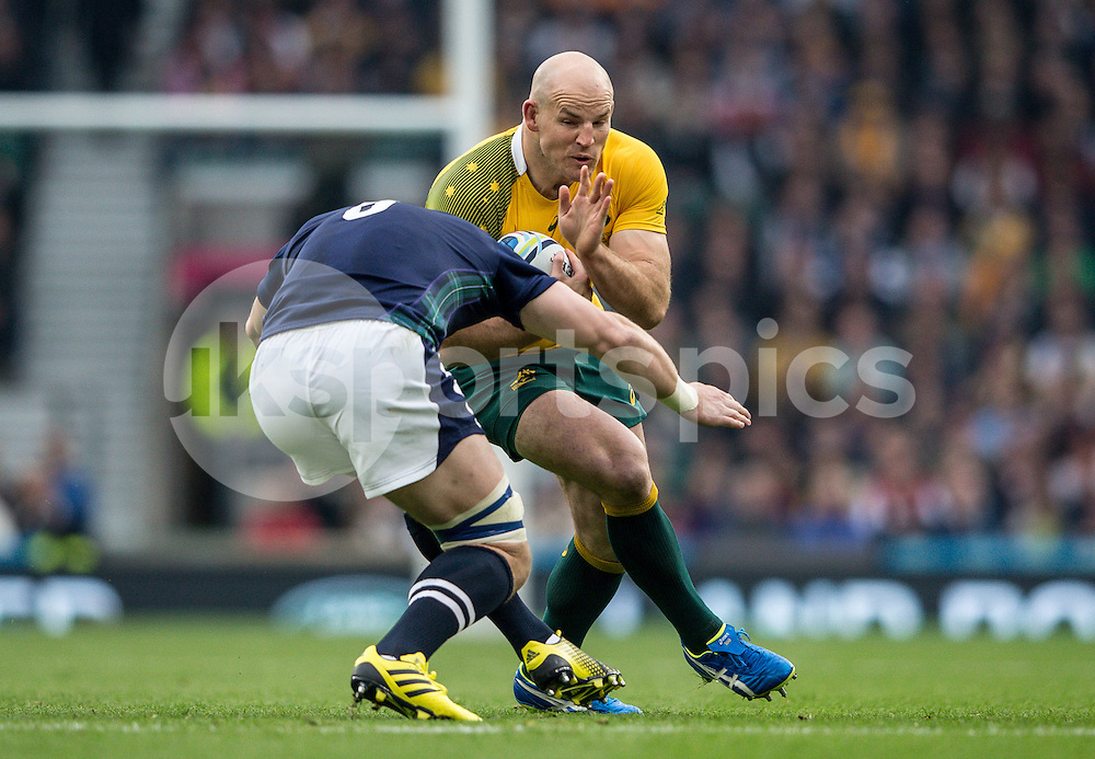 Stephen Moore Captain of Australia during the Rugby World Cup Quarter Final match between Australia and Scotland played at Twickenham Stadium, London on the 18th of October 2015. Photo by Liam McAvoy.