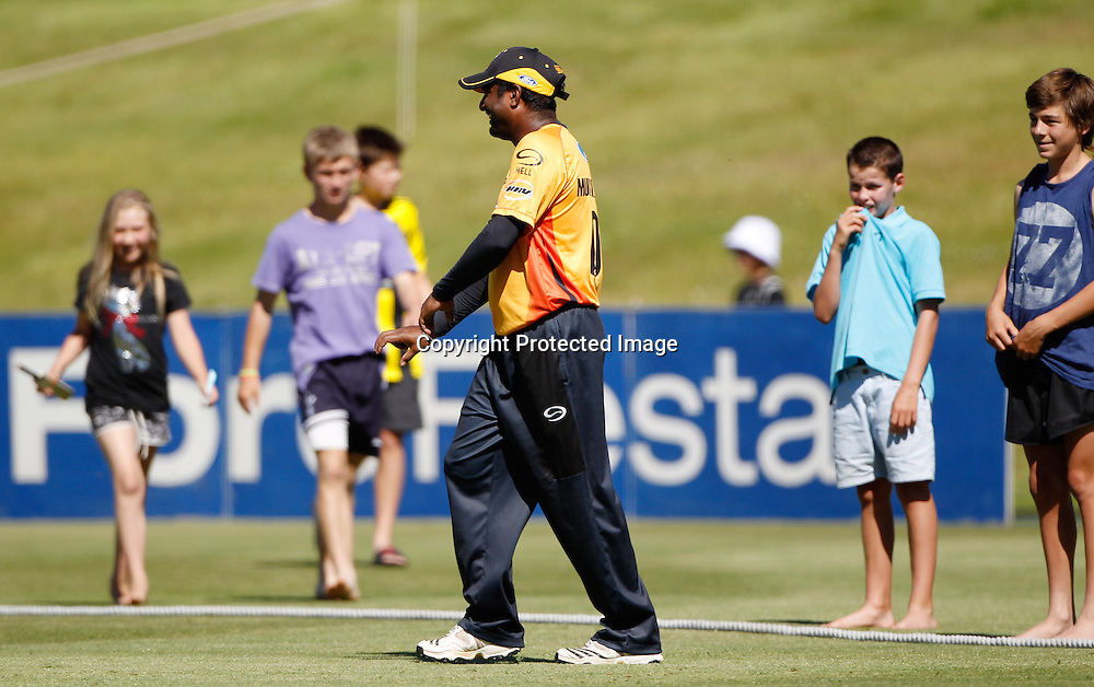 Firebirds Muttiah Muralidharan with his fan club during the Twenty20 Cricket - HRV Cup, Otago Volts v Wellington Firebirds, Saturday 31 December 2011, Queenstown Events Centre, Queenstown, New Zealand. Photo: Michael Thomas/photosport.co.nz