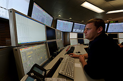 An RWE employee works in the control room at the RWE gas burning power plant, in Lingen, Germany, on Tuesday, Sept. 6, 2011. (Photo © Jock Fistick)