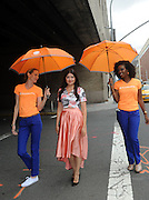 Irina Engelke - of Fashionambit.com - AccuWeather MinuteCast street team members outside Clarkson Square during New York Fashion Week