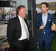 SEAN MULYRAN; DUNCAN STIRLING; , Charlie Gilkes and Duncan Stirling host Inception Group's Hamptons Garden party on the rooftop garden of the Ballymore marketing suite overlooking the site of the new US embassy. Embassy Gardens, London SW8.  12 July 2012.