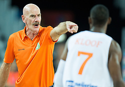 Toon van Helfteren, head coach of Netherlands with Charlon Kloof of Netherlands during basketball match between Netherlands and Macedonia at Day 2 in Group C of FIBA Europe Eurobasket 2015, on September 6, 2015, in Arena Zagreb, Croatia. Photo by Vid Ponikvar / Sportida