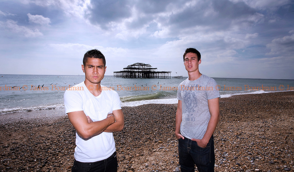 JAMES BOARDMAN / 07967642437.Brighton and Hove Albion's new Argentine signings Cristian Baz 23 and Agustin Battipiedi 20 on Brighton Beach September 2, 2010..
