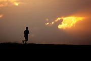 Sunset runner and sunset sky