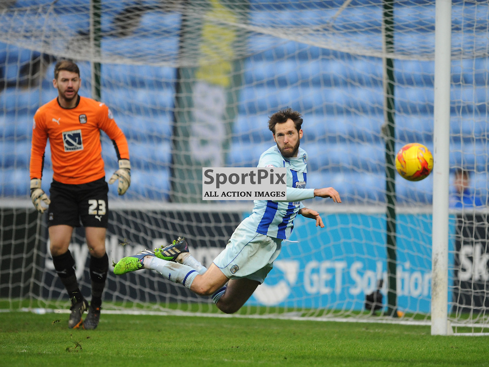 Coventrys Jim Obrien Clears the Ball from Rochdales Shot on Target, Coventry City v Rochdale, League One, Ricoh Arena, Saturday 31st January 2015