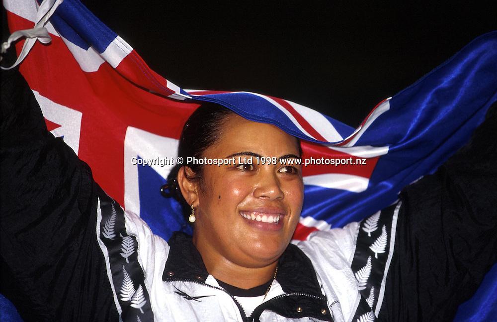 Beatrice Faumuina celebrates at the Commonwealth Games, Kuala Lumpur, 1998. Photo: Scott Barbour/PHOTOSPORT