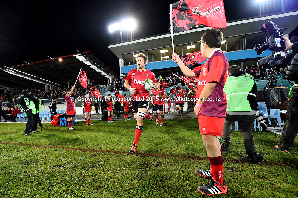 Crusaders captain Ricjie McCaw runs on to the field during their Investec Super Rugby game Crusaders v Hurricanes. Trafalgar Park, Nelson, New Zealand. Friday 29 May 2015. Copyright Photo: Chris Symes / www.photosport.co.nz