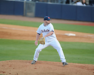 Ole Miss' R.J. Hively (27) pitches vs. North Carolina-Wilmington's  at Oxford-University Stadium in Oxford, Miss. on Saturday, February 25, 2012. Ole Miss won 6-4.