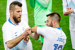Bostjan Cesar of Slovenia gives captain tape to Bojan Jokic of Slovenia during friendly football match between National teams of Slovenia and Belarus, on March 27, 2018 in SRC Stozice, Ljubljana, Slovenia. Photo by Matic Klansek Velej / Sportida