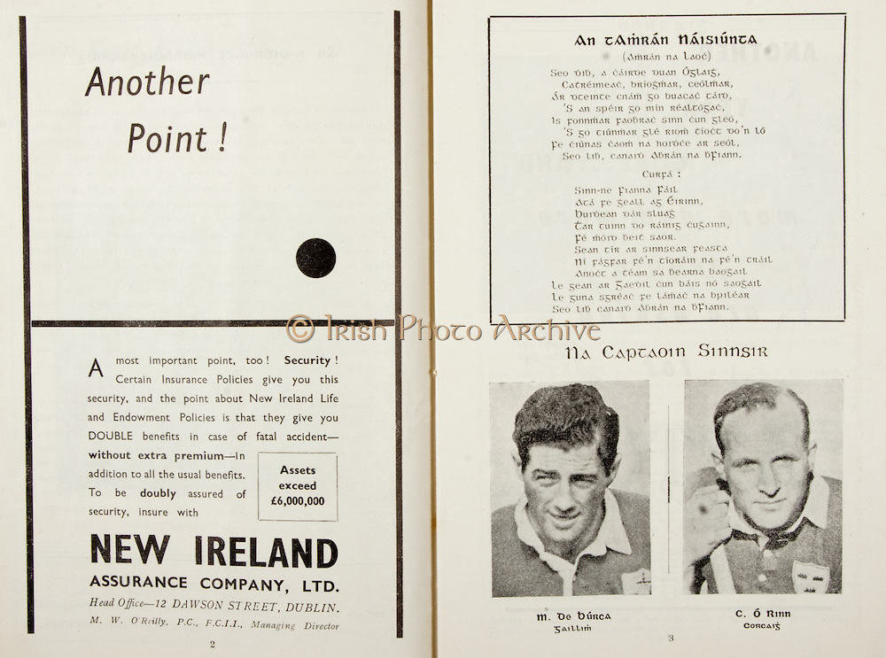 All Ireland Senior Hurling Championship Final,.Programme, .06.09.1953, 09.06.1953, 6th September 1953,.Cork 3-3, Galway 0-8, .Minor Dublin v Tipperary, .Senior Cork v Galway, .Croke Park, 0691953AISHCF,..Advertisements, New Ireland Assurance Company Ltd, Another Point!,..Songs, An Tamran Naisiunta,.