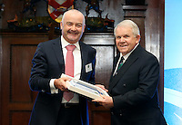 REPRO FREE***PRESS RELEASE NO REPRODUCTION FEE***<br /> Irish Sailing Awards, Royal College of Surgeons, Stephen's Green, Dublin 4/2/2016<br /> National Yacht Club sailor Liam Shanahan was named the 2015 Irish Sailor of the Year today at the Irish Sailing Awards in Dublin - Shanahan had a remarkable year, including victory in the Dun Laoghaire to Dingle race in June on his boat Ruth with two miles to spare.<br /> Kilkenny's Doug Elmes and Malahide's Colin O'Sullivan jointly took home the Irish Sailing Association (ISA) Youth Sailor of the Year award. The Howth Yacht Club sailors were hotly tipped following their recent Bronze medal success at the 2015 Youth World Championships in Malaysia, where they took Ireland's first doublehanded youth worlds medal in 19 years.<br /> The Mitsubishi Motors Sailing Club of the Year award was presented to the Royal Irish Yacht Club in honour of their success at local, national and international level.<br /> Mullingar Sailing Club took home the ISA Training Centre of the Year award, having been nominated as winners of the western-region Training Centre of the Year.<br /> Pictured is Conor Clarke, Sailor of the Month winner for January, and David Lovegrove, President ISA<br /> Mandatory Credit ©INPHO/Cathal Noonan