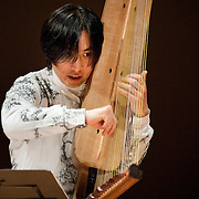 "February 18, 2012 - New York, NY : .Fuyuhiko Sasaki performs the World Premier of his self-composed 'To Be Human' (2012) on the kugo, an angular harp, during ""Resonances of the Kugo,"" part of the 2012 New York Music From Japan Festival, at Merkin Concert Hall on Saturday. .CREDIT: Karsten Moran for The New York Times"