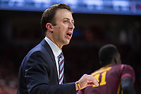 FAYETTEVILLE, AR - DECEMBER 9:  Head Coach Richard Pitino of the Minnesota Golden Gophers yells to his team during a game against the Arkansas Razorbacks at Bud Walton Arena on December 9, 2017 in Fayetteville, Arkansas.  The Razorbacks defeated the Golden Gophers 95-79.  (Photo by Wesley Hitt/Getty Images) *** Local Caption *** Richard Pitino
