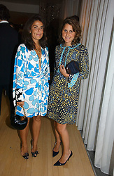 Left to right, designer DANIELLA HELAYEL and NIKKI PENNIE at a party to celebrate the launch of Amy Sacco's book 'Cocktails' held at Sanderson, 50 Berners Street, London W1 on 10th July 2006.<br />