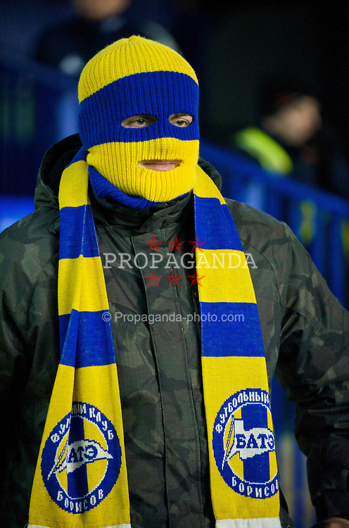 LIVERPOOL, ENGLAND - Thursday, December 17, 2009: FC BATE Borisov supporter during the UEFA Europa League Group I match against Everton at Goodison Park. (Pic by David Rawcliffe/Propaganda)